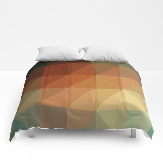 Shades of Green and Browns Triangle Abstract Comforters