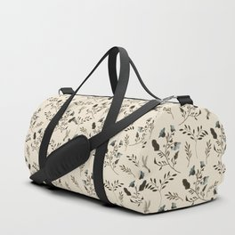 Ivory Cream and Bluebells and Bluebirds Floral Pattern Flowers in Blue and Bark Brown Duffle Bag