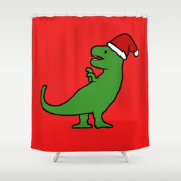 Christmas T-Rex Shower Curtain