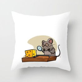Detective Mouse Trap graphic For Little Detectives Gift Tee Throw Pillow