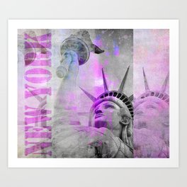 Statue of  Liberty pink mixed media art Art Print