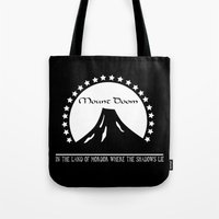 doom Tote Bags featuring Mount Doom by Fiona Reeves