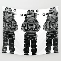 robot Wall Tapestries featuring ROBBY THE ROBOT by Matthew Taylor Wilson