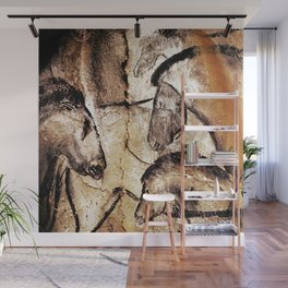 Facing Horses // Chauvet Cave Art Wall Mural