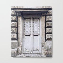 White Metal Work Door Metal Print