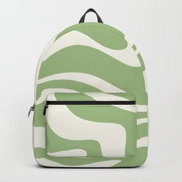Modern Liquid Swirl Abstract Pattern in Light Sage Green and Cream Backpack