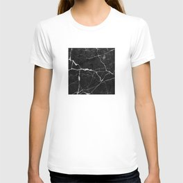 Black Suede Marble With White Lightning Veins T-shirt