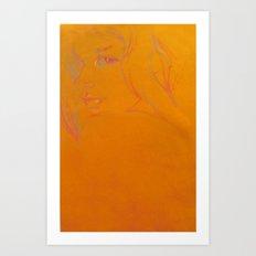 Over It (orange girl) Art Print