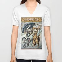 shopping V-neck T-shirts featuring Shopping by Frankie Cat