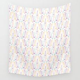 Tea Spoons Vector Cutlery Pattern Pastel Colors Wall Tapestry