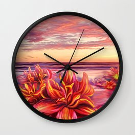 Radioactive flowers Wall Clock