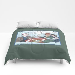 Superheroic Seasons Greetings (Chestnuts Roasting) Comforters