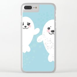 set Funny white fur seal pups, cute winking seals with pink cheeks and big eyes. Kawaii animal Clear iPhone Case
