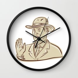 Businessman Fedora Hat Vintage Etching Wall Clock