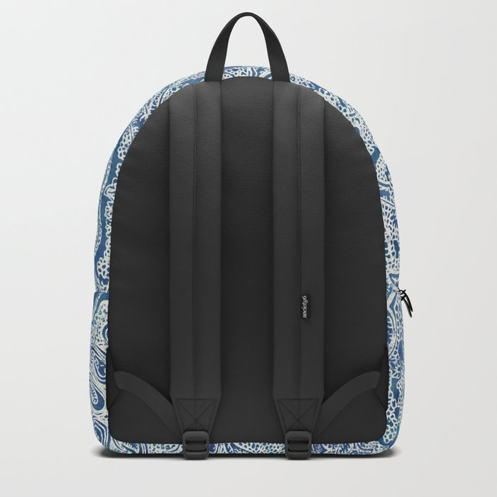 Blue Boho Paisley Pattern Backpack