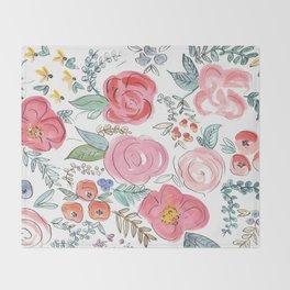 Watercolor Floral Print Throw Blanket
