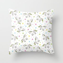 Unicorns and Stars - White and Rainbow scatter pattern Throw Pillow