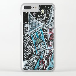 Christmas Snow Village on Black Clear iPhone Case
