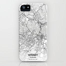 sydney city map white iPhone Case