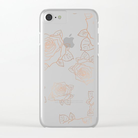 Metallic Roses Clear iPhone Case