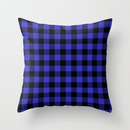 Jumbo Cornflower Blue and Black Rustic Cowboy Cabin Buffalo Check Throw Pillow