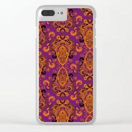 Golden Paisley Purple Clear iPhone Case