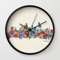 south africa Wall Clocks featuring Port Elizabeth south africa by bri.buckley