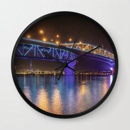Auckland Harbour Bridge light show 2 Wall Clock