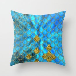 Blue Aqua Turquoise And Gold Glitter Mermaid Scales -Beautiful Mermaidscales Pattern Throw Pillow