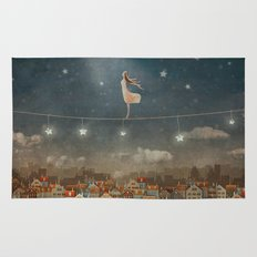 Illustration of  cute houses and  pretty girl   in night sky Rug