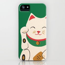 Green Lucky Cat Maneki Neko iPhone Case