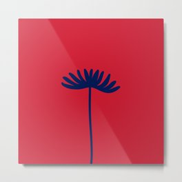 Tall Flower - Minimalist Floral in Blue and Red Metal Print