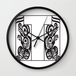 Northwest Pacific Coast American Native Totem White Letter T Wall Clock