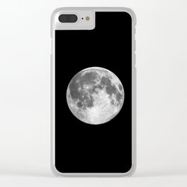 Full Moon print black-white photograph new lunar eclipse poster bedroom home wall decor Clear iPhone Case