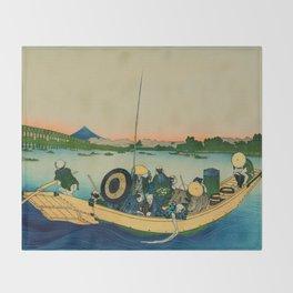Ryogoku Bridge over the Sumida River Throw Blanket