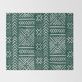 Line Mud Cloth // Brunswick Green Throw Blanket