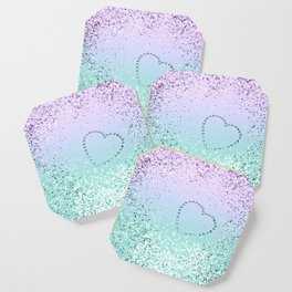 Sparkling MERMAID Girls Glitter Heart #1 #decor #art #society6 Coaster