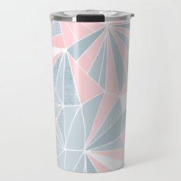 Cool blue/grey and pink geometric prism pattern Travel Mug