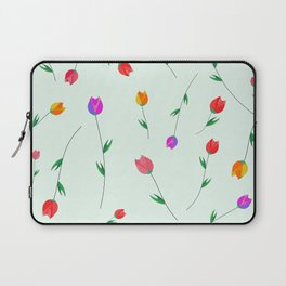 Pattern of tulips. Tulips scattered on the web Laptop Sleeve