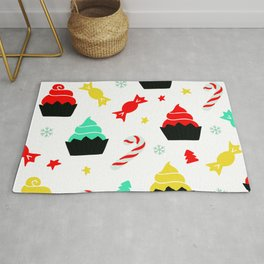 Christmas Colorful Cupcakes and Candy Canes Pattern Rug