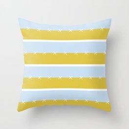 Cream Mustard Blue Stripe Throw Pillow