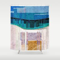 cityscape Shower Curtains featuring CITYSCAPE by Catspaws