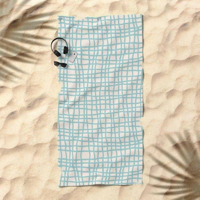 Blue Scribbles Pattern 06 Beach Towel
