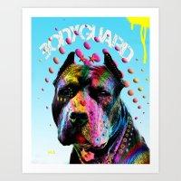 pitbull Art Prints featuring pitbull  by mark ashkenazi