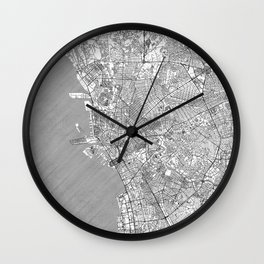 Manila Map Line Wall Clock