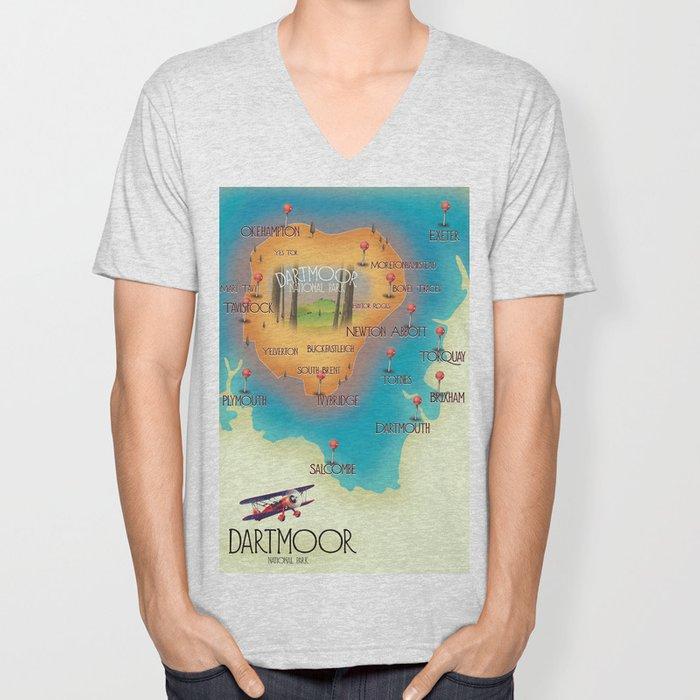 Dartmoor National Park map Unisex V-Neck