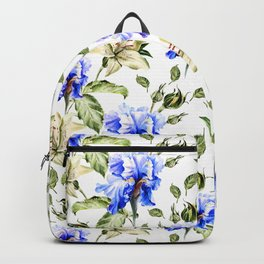 Irisis and lilies - flower pattern no3 Backpack
