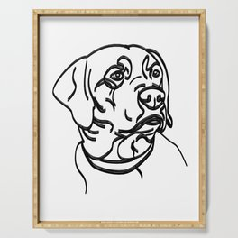 Labrador Retriever Thick Line Drawing Serving Tray