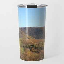 Panoramic of french hilly landscape in autumn season under sunlight Travel Mug