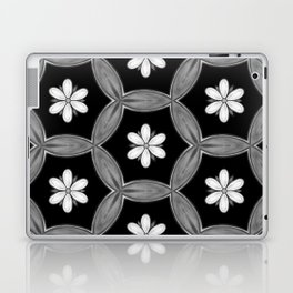 black and white hippie flower pattern Laptop & iPad Skin